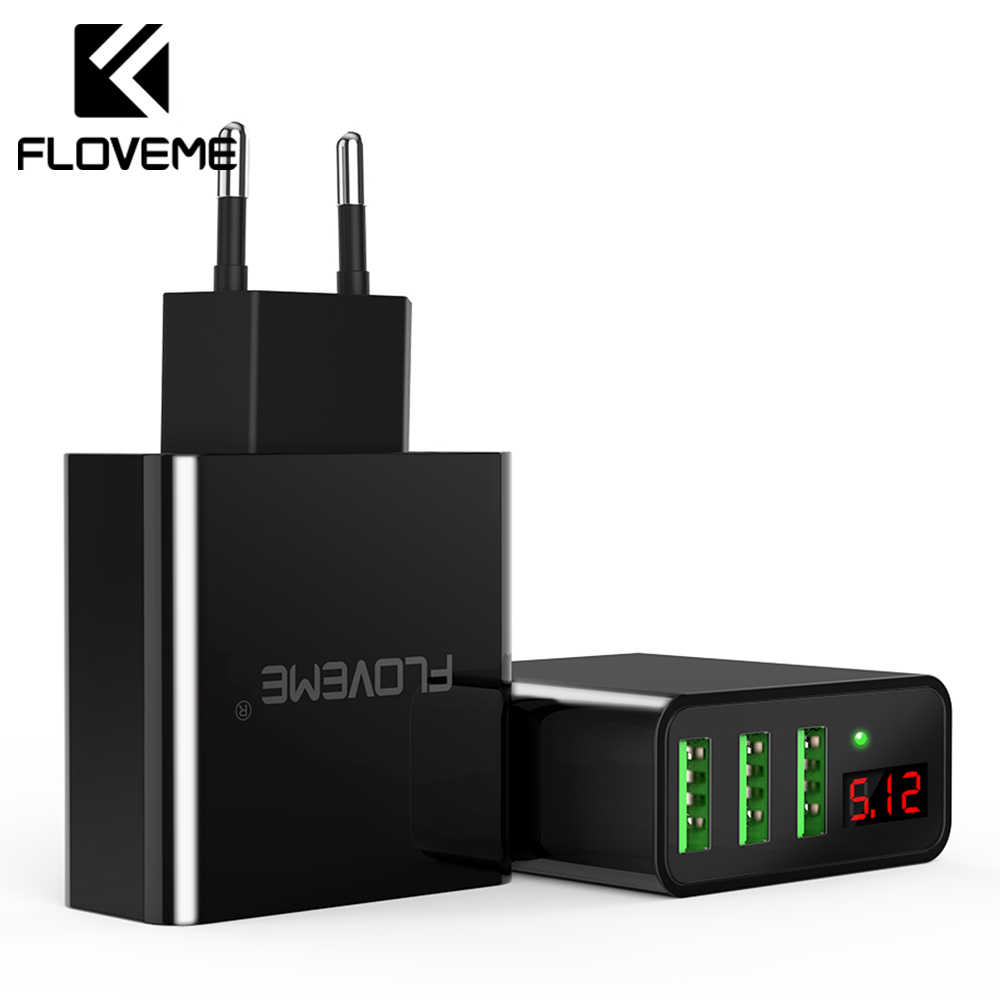 Floveme USB Charger 3 Port Dinding Digital Charger Travel Adaptor Ponsel Charger untuk Iphone Samsung Xiaomi OnePlus