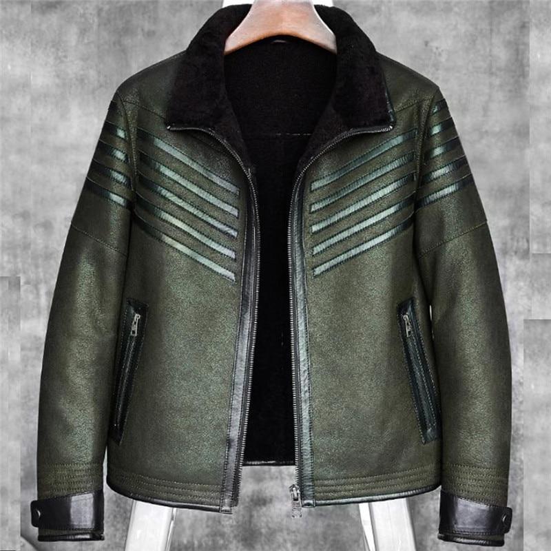Denny&Dora New Men's B3 Shearling Sheepskin Bomber Jacket Dark Green Color Men's Fur Coat