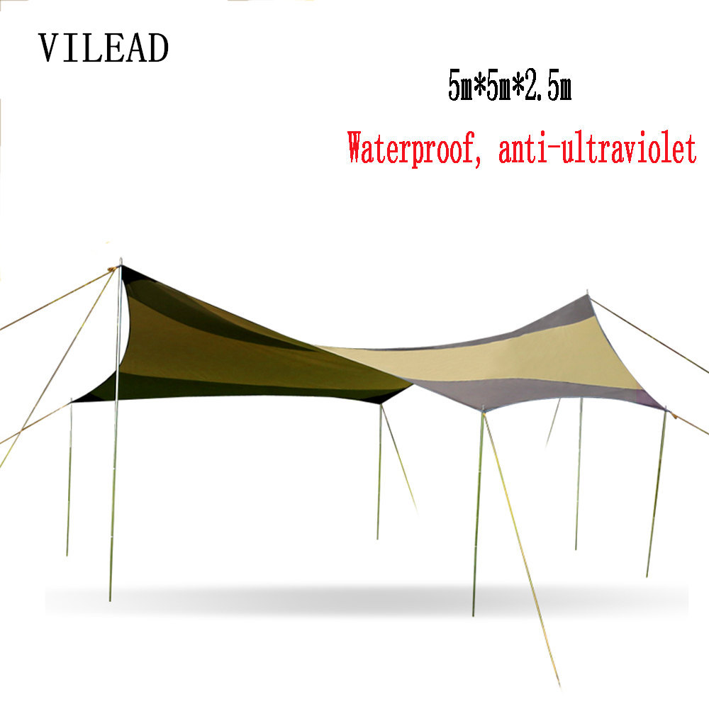 VILEAD 5*5 Car Sun Shelter Outdoor Pergola Anti-Canopy Awning Sun Shade Super Lightweight Camping Tent Yard Rainshed Shed Arbor outdoor camouflage cloth camping tent sun shelter simple tent windproof rainproof sunshade canopy waterproof cloth 3 3 m