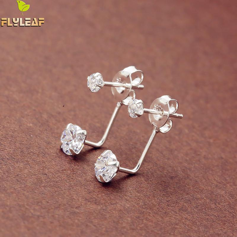 Flyleaf Brand 925 Sterling Silver Cubic Zirconia After Hanging Stud Earrings For Women Fashion Lady Sterling-silver-jewelry