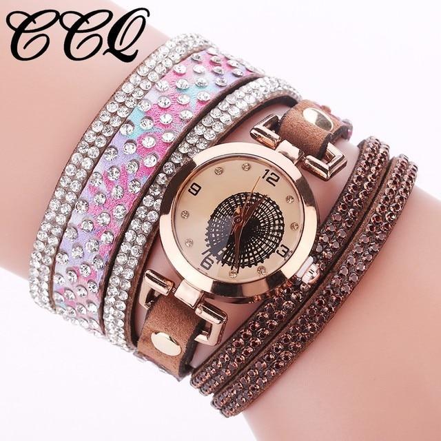 CCQ Brand Fashion Women Rhinestone Bracelet Watch Ladies Luxury Quartz Watch Cas