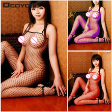 Sexy Lace Neck Fishnet Body Stocking Sexy Lingerie Nets Clothings Sex Costumes Mesh Fishnet Open Crotch Stocking 1 Pcs(China)