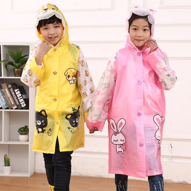 2efee41ff36d Korean Cartoon Inflatable Raincoat Waterproof Polyester Kids Rain ...