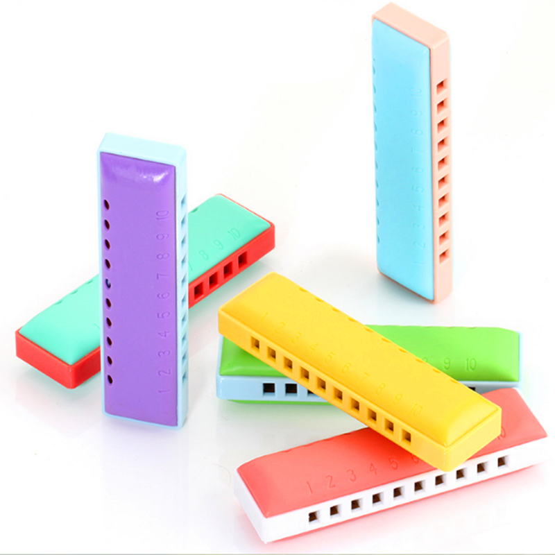 Kongsheng 10 Hole Harmonica Childrens Toy Armonica Blues gaita de boca Mouth Ogan Educational Musical Instrument Orff Baby Toys