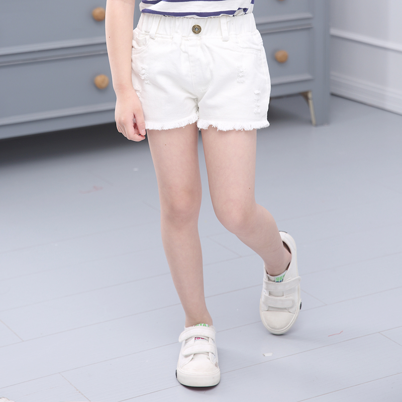Korean girls summer shorts white cowboy stretch hot pants children in the big children loose casual children's clothing