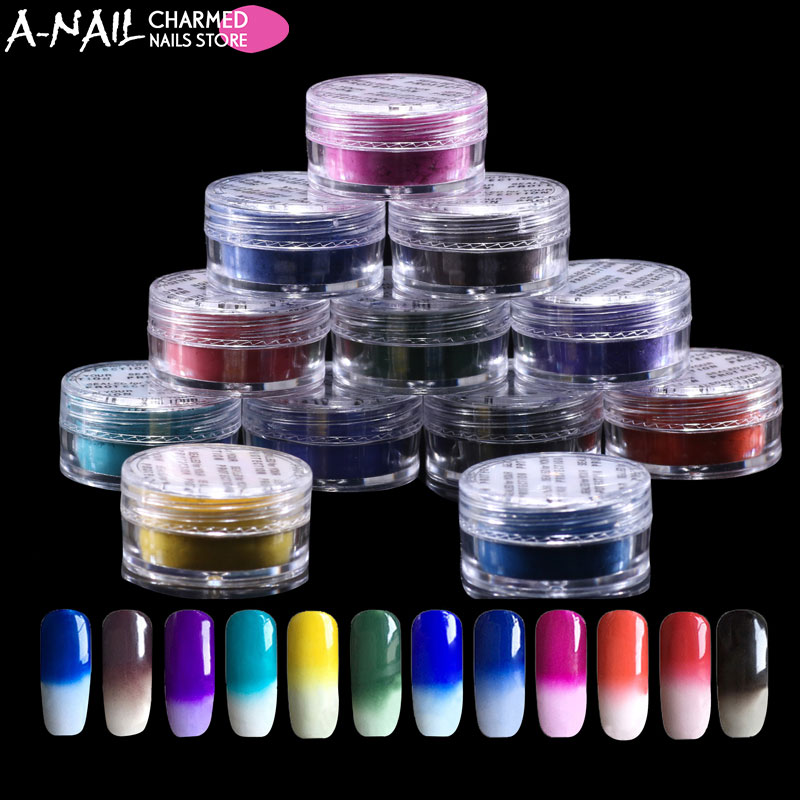 12jar/set Thermochromic Pigment Thermal Color Change Temperature Powder Dust Decoration Gradient Nail Art 3D Tips Manicure Tools