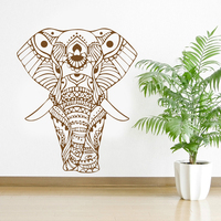 ROWNOCEAN Mandala Yoga Ornament Indian Buddha God Elephant Wall Stickers Home Decor Art Living Room Vinyl Mural Removable M613