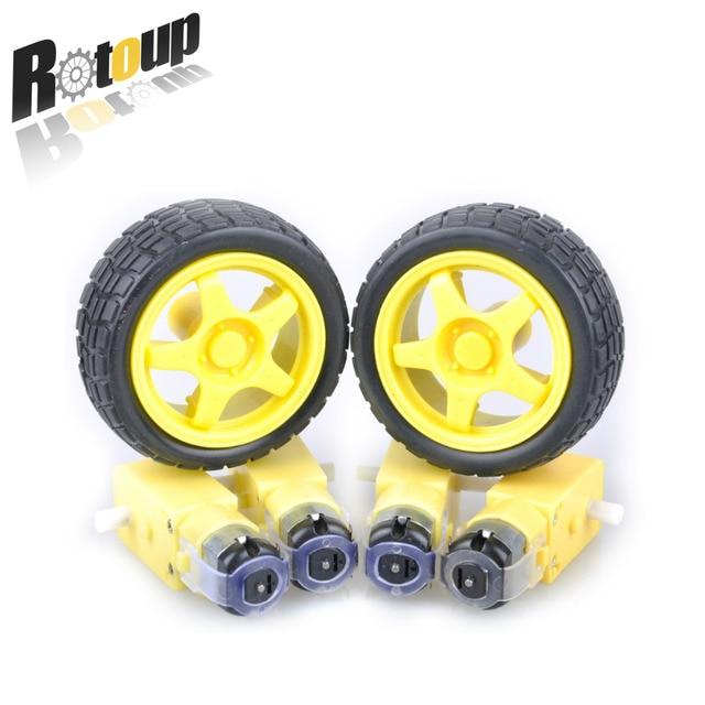 roroup 48:1 Plastic DC Drive Gear Motor wheel Tyre Tire For Smart Robot Car wheels 8pcs/4set High Quality Free shipping #RBP001