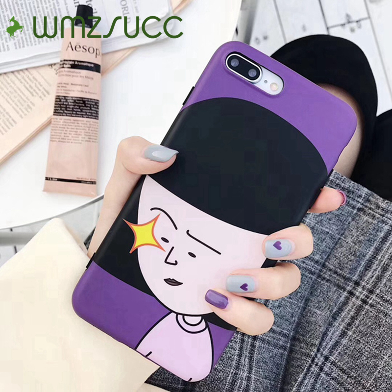 WMZSUCC Cartoon Fashion Bob Girl Soft Silicone Phone Case Cover for iPhone X 6 6s 8 7 Plus Full Cover Case