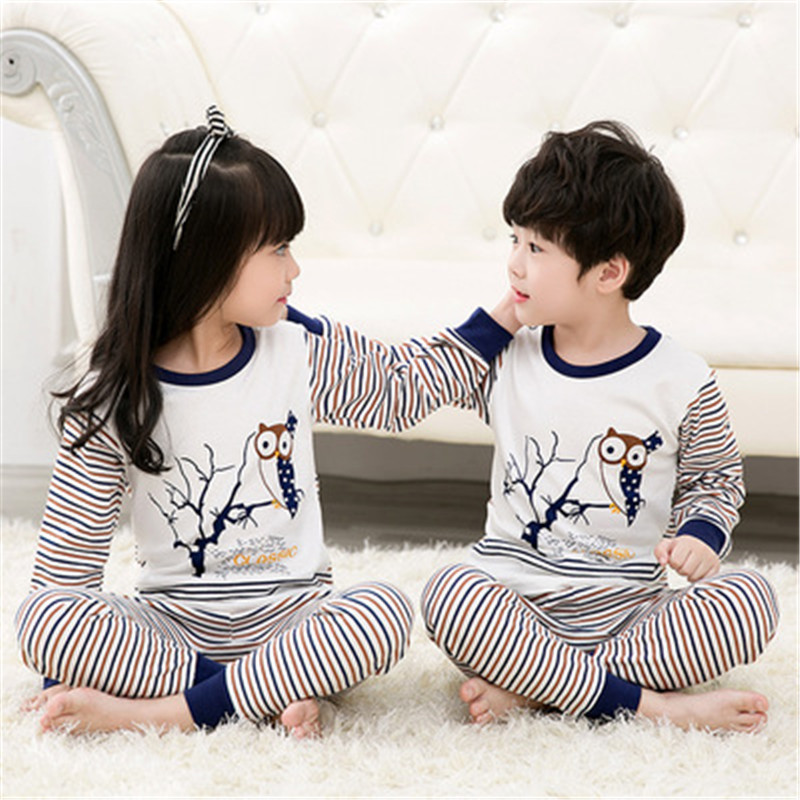 GIRLS FASHION 2017 NEW Spring Fall Autumn Kds Thermal Underwear Cartoon Pajamas For Cute Baby Girl Children