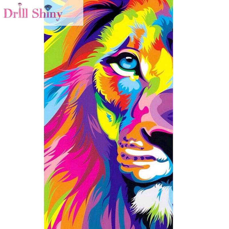 Full Drill Colorful Lion DIY 5D Diamond Painting Embroidery Cross Stitch Kits