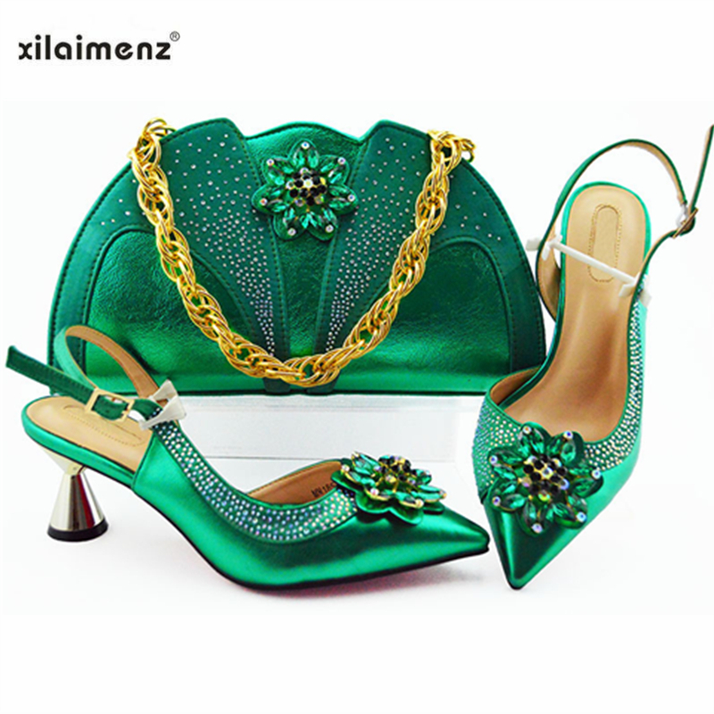 Green Color New Design Italian Elegant Shoes And Bag To Match Set African Comfortable Heels Party
