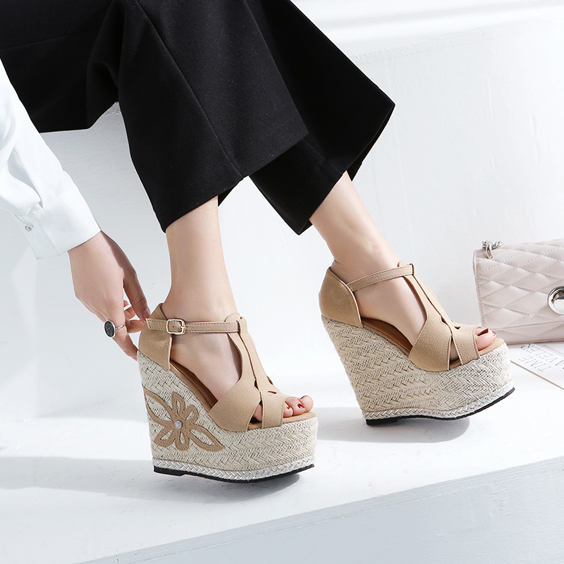 Summer Female Wedges Sandals Bohemia Small Size 12cm High Heel Women Shoes Peep Toe