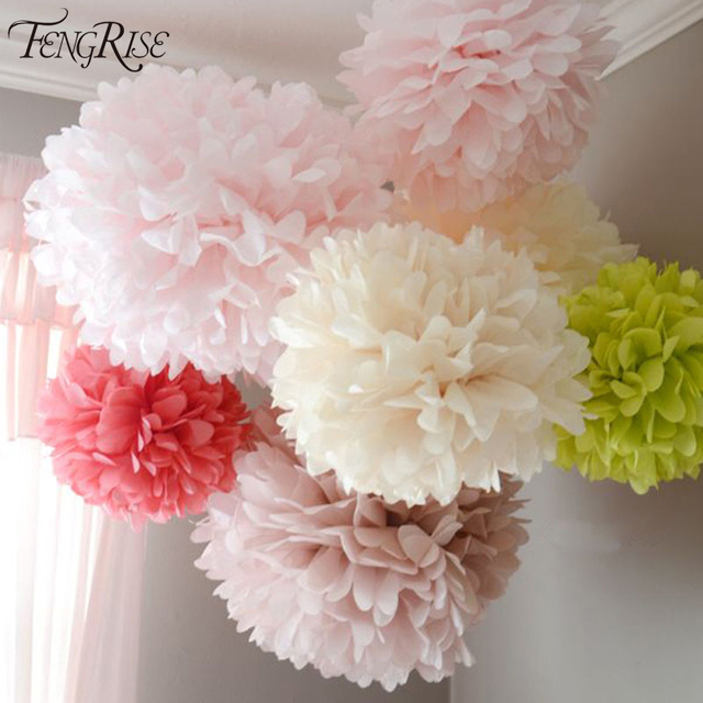 FENGRISE Pom Poms 1pcs 30cm Tissue Paper Artificial Flowers Balls Wedding Decoration Crafts Party Home Supplies Car Decorative
