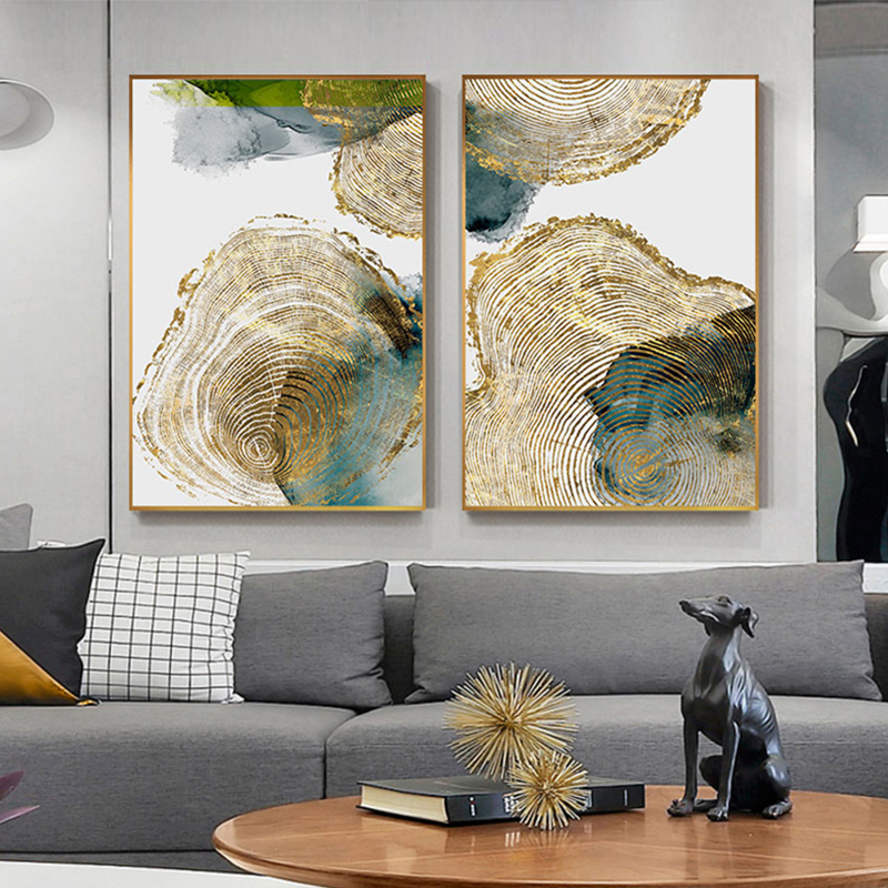 Nordic Poster and Print Wall Art Abstract Green Leaf Golden Vein Ring Canvas Painting for Living Room Tableau Decoration Salon