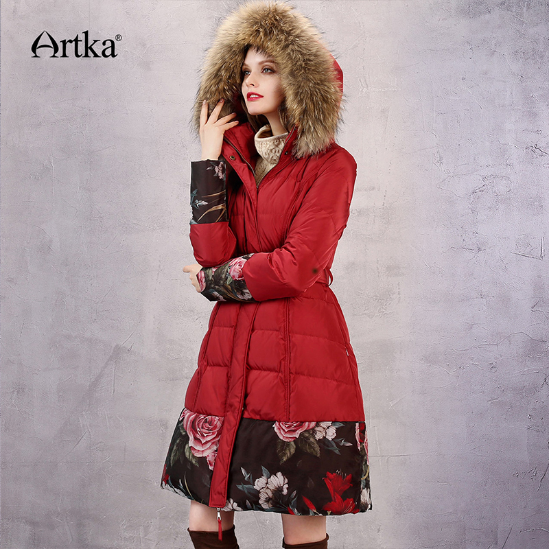 ARTKA Winter Fur Collar Hooded Windbreaker Floral Overcoat ZK11867D