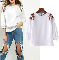Freeshipping Women Blouses Blusas Summer 2017 Casual Floral Embroidery Hollow Out Sexy Fashion Cotton Shirt