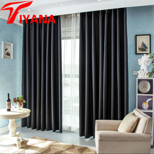Europe Modern Solid Blackout Curtains For Bedroom Luxury Black Shade Thick Fabric Night Curtain Cortinas Custom