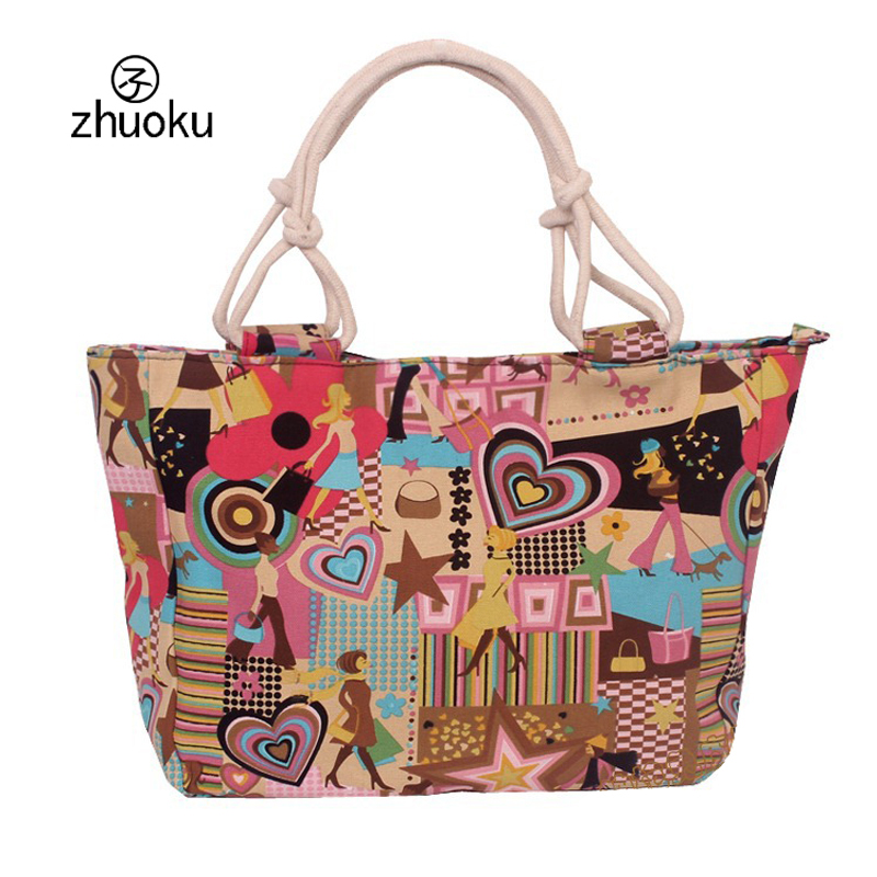 Hot Selling Women Bag Canvas Handbags Fashion Flower Print Stripes Large Beach