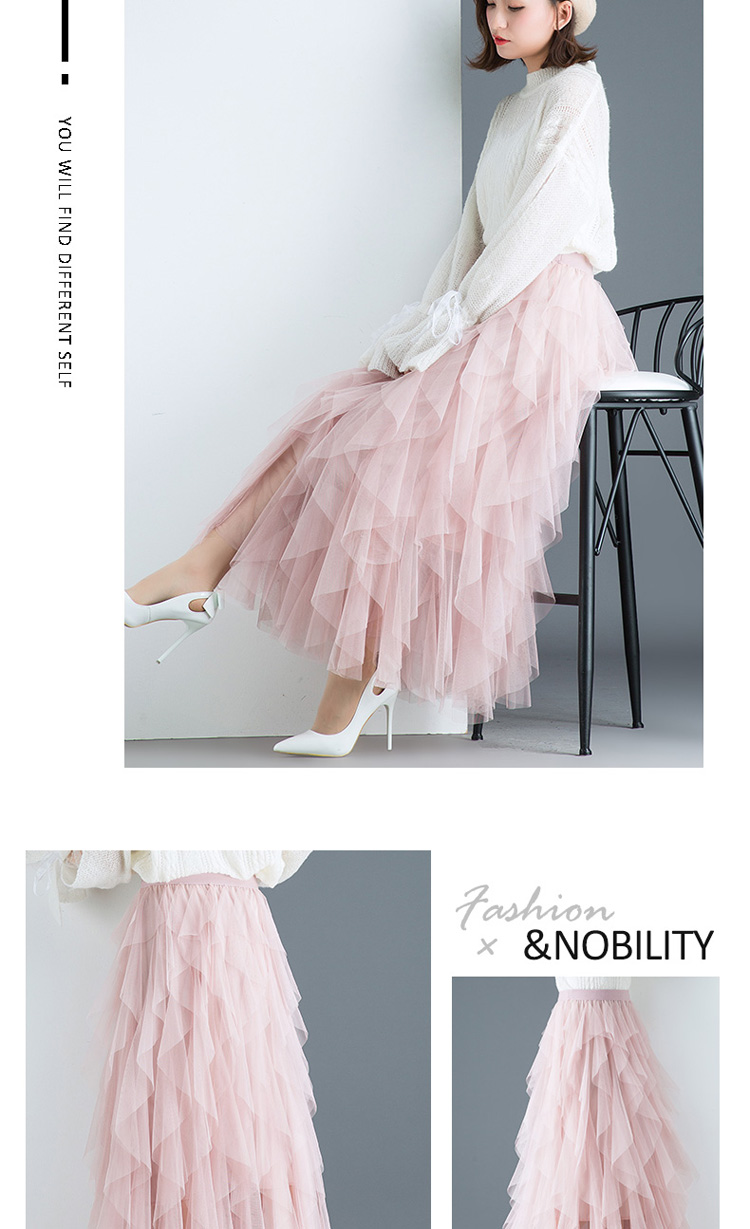 Women irregular Tulle Skirts Fashion Elastic High Waist Mesh Tutu Skirt Pleated Long Skirts Midi Skirt Saias Faldas Jupe Femmle 44