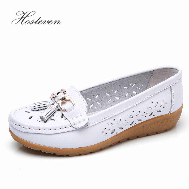 цена на Hosteven Women Shoes Flats Moccasins Loafers Sneaker Genuine Leather Oxford Mother Ladies Air Mesh Fashion Casual Shoes