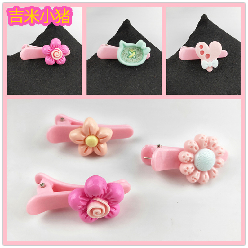 10pcs Mix Colors Pink Hair Clip DIY Resin Flower Toys Girl Gift For Kids Bow New Handmade Diy Crafts Toy Wholesale 2019