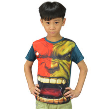 avengers alliance in 2016 children's short sleeve hero hulk captain America boy and girl tight t-shirts wholesale and retail
