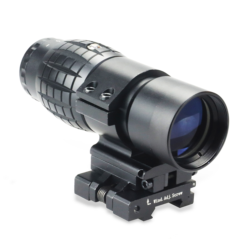 Tactical Focus Adjusted 3X Magnifier Scope With Flip Up Picatinny Rail Mount For Holographic Aimpoint Red Dot Sight Scope.