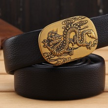 Mens Belts Automatic-Buckle Microfiber-Leather Gold Designer Luxury Dragon 180 160 110