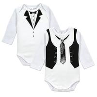 2pcs Lot Baby Gentleman Body Suit Original Boys Long Sleeves Bodysuite Popular Style European Style Newborn