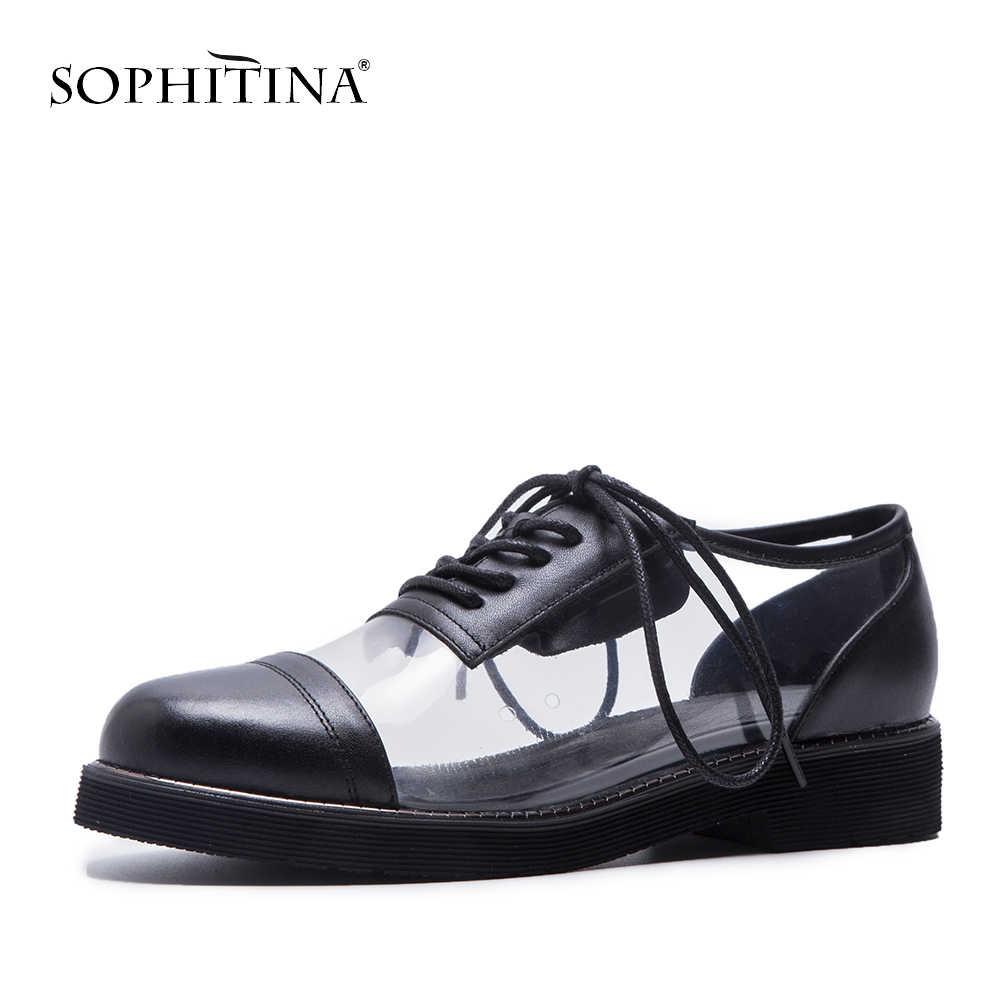 SOPHITINA женские туфли из высококачественной натуральной кожи на плоской подошве; Разноцветные Туфли с круглым носком; сезон весна-осень; женские вечерние туфли на плоской подошве со шнуровкой; PO188