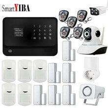 SmartYIBA APP Control Wireless GSM WIFI Home Security Burglar Alarm System Siren WIFI IP Camera Smoke Fire Sensor Smart Socket