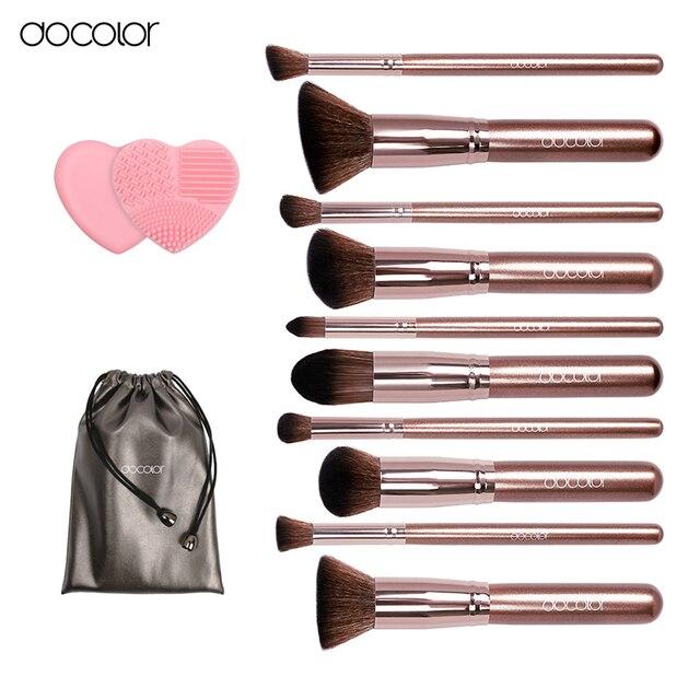 Docolor кисти для макияжа 10 шт. Профессиональный бренд макияж кисти набор с сумка кофейного цвета с щеткой чистить top Synthetic волос