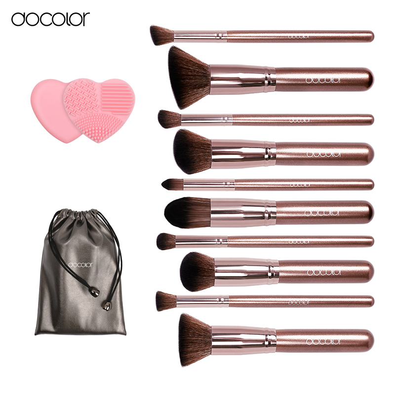 Docolor makeup brushes 10pcs Professional brand make up brushes set with bag coffee color with brush clean top Synthetic Hair cosqueen 22 pcs lot cosmetic makeup brushes set professional comestic make up brush with synthetic hair pure color bag makeup