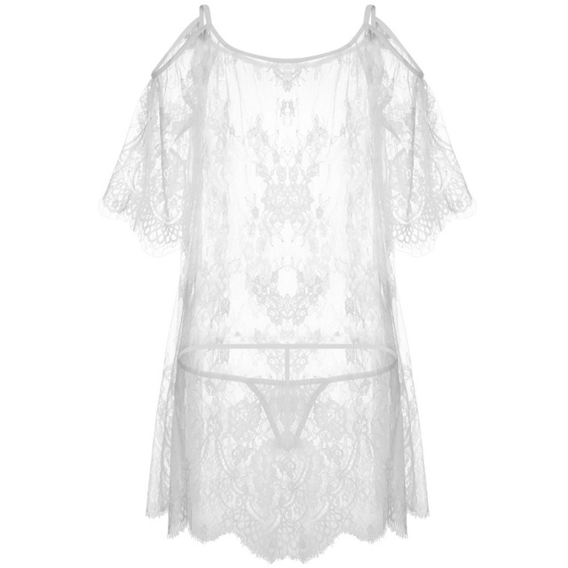 Yhotmeng2019 new mesh transparent sexy sling five-point sleeves flowers sexy lace pajamas nightdress set black and white 5