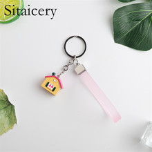 Sitaicery 2PCS/Set House Keychain Lovers Trinket Personalized For Couples In Love Cute Jewelry Pendant Bag Key Rings