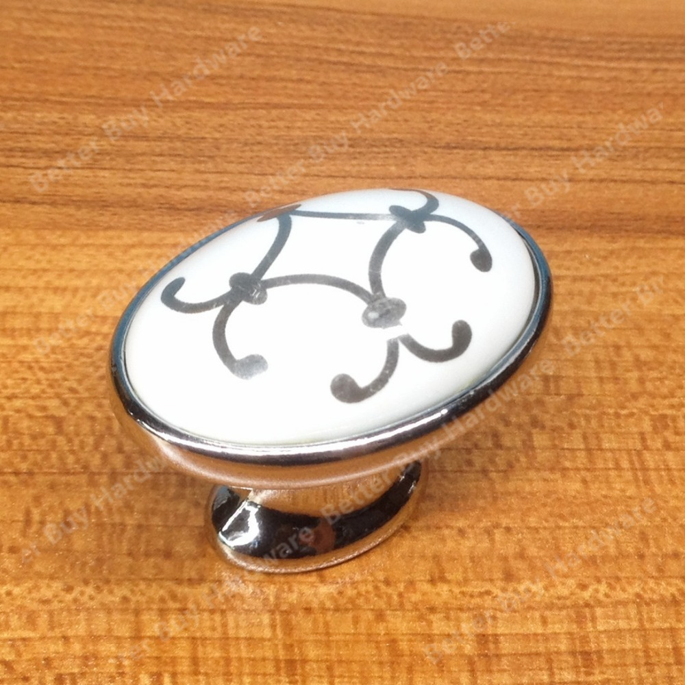 10pcs Single Hole oval knob Zinc alloy ceramic Kitchen cabinet knob drawer pulls furniture handle with silver flower print 10pcs kitchen furniture pull pumpkin shape pastoralism ceramic knob various color single hole knobdrawer knob dia 40mm
