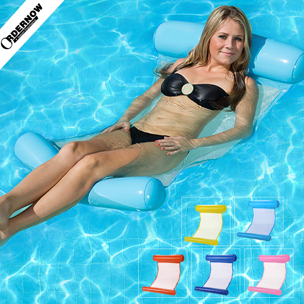 Adult Water Bed Chair Hammock Inflatable Foldable Hammock Floating Bed Lounge Chair Drifter Swimming Pool Beach Air Mattress