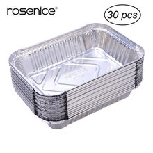30pcs 570ml Disposable BBQ Drip Pan Tray Aluminum Foil Tin Liners for Grease Catch Pans Replacement Liner Trays without Cover(China)