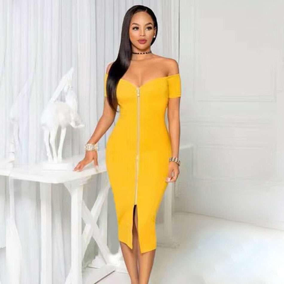 Womens Off the Shoulder Slash Neck Zipper Embellished Bodycon Dress Female Front Split Sexy Party Gown Solid Bandage Dresses