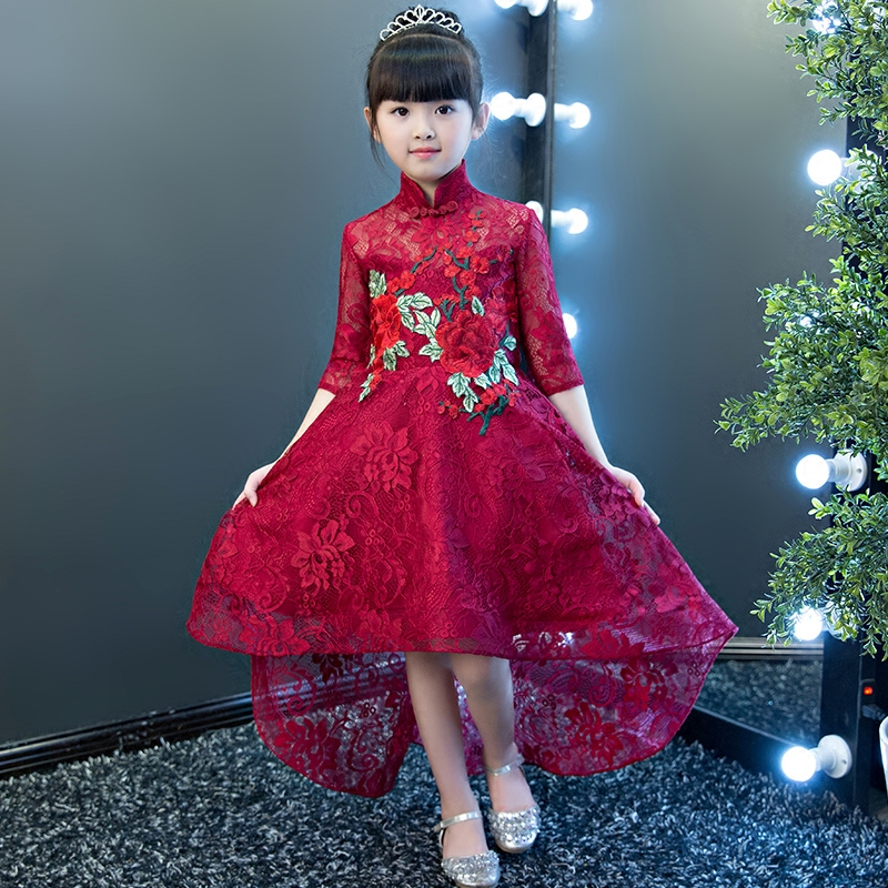 2017 Autumn New Children Girls Half Sleeves Embroidery Flowers Princess Dress Kids Birthday Wedding Party Lace Show Trail Dress half sleeve toddler girls show performance lace flowers white christening noble wedding princess bowknot party formal dress