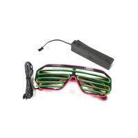 Double Color Wholesale 100pcs EL Wire Rave Shutter Shape Glasses LED Light Up Party Glasses