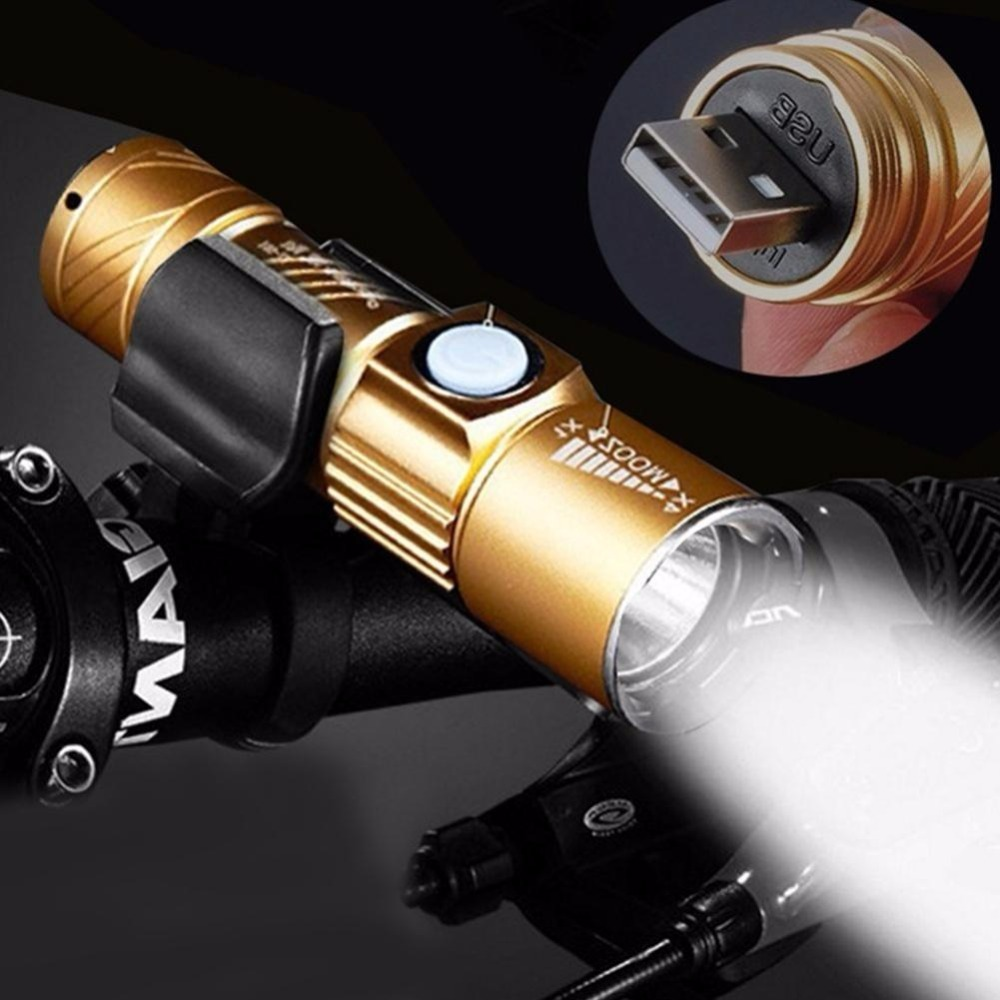 3800 Lumens USB Chargeable Mini Bicycle Light Super Bright LED Lights Flashlight Zoomable Torch Waterproof Bicycle Accessories