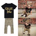 Baby Kids Boys Girls Letter Printing Short Sleeve Cotton Tops Leopard Print Pants Leggings Outfit 0 to 48 Months