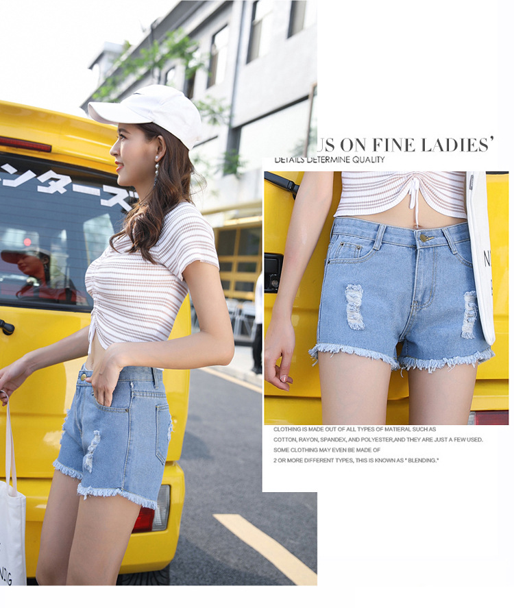 Blue Crimping Denim Jeans Shorts For Women 29