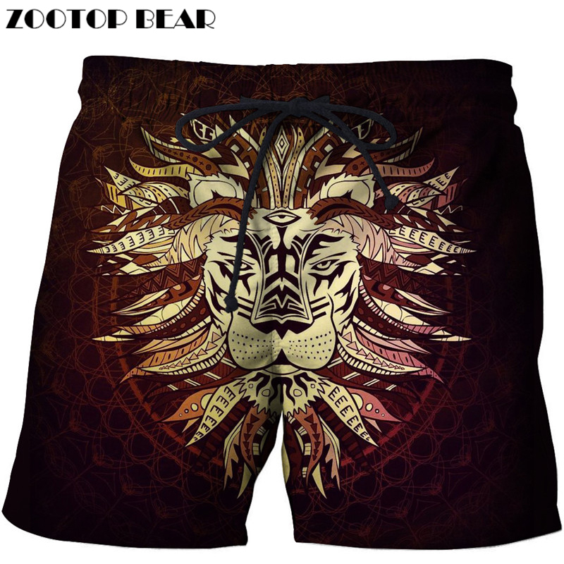 Men's Clothing Good Anime Lion Printed Beach Shorts Men Board Shorts 3d Shorts Plage Brand Swimwear Quick Dry Pants Summer 8xl Dropship Zootop Bear