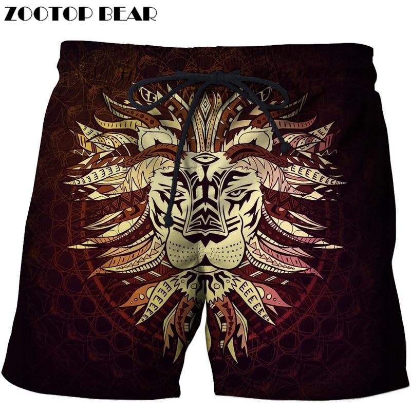 Anime Lion Printed Beach Shorts Men Board Shorts 3d Shorts Plage Brand Swimwear Quick Dry Pants Summer 8XL DropShip ZOOTOP BEAR