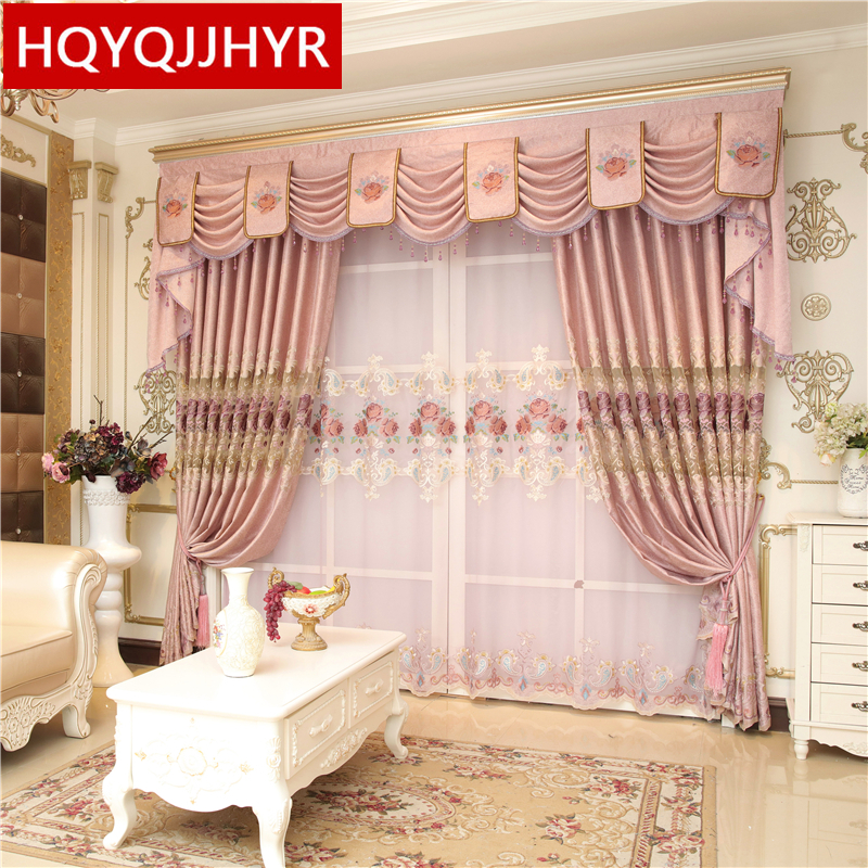 Vila mewah merah jambu Eropah kain tirai bersulam untuk ruang tamu - Tekstil rumah