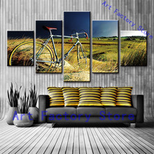 Hd Printed Vintage Canvas Print Room Decor Print Poster Picture Canvas 5 Piece Canvas Art Field Bike Bicycle Painting Pictures(China)