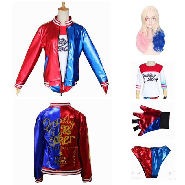 Adult Women Harley Quinn Costume Ripped Jacket T-Shirt Short with Wig Suicide Squad Cosplay Halloween Costume Set